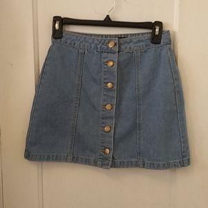 New! Forever 21 Denim Button Front Skirt